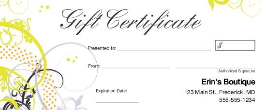 Small business gift certificates-Print-Custom-Gift-Certificate
