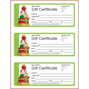 small business gift certificates holiday design