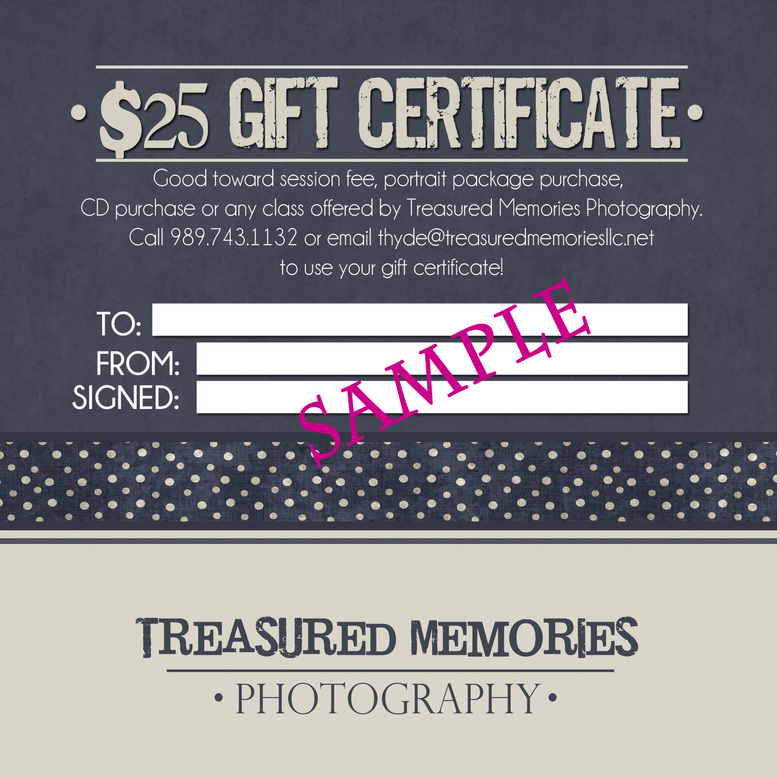 Small Business Gift Certificates Sample Gift Certificate Back
