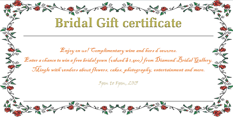 bridal gift certificateswreath of roses bridal gift
