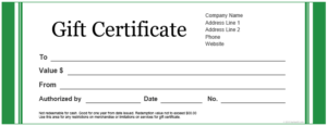 printable-Basic Green Gift Certificate Template for Word pdf