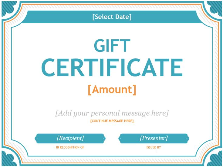 Printable New 2017 Blue Gift Certificate Template Word Gift Certificates