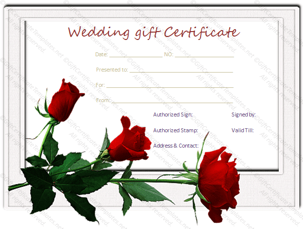Red Rose Wedding Gift Certificate Template Sample Doc Pdf