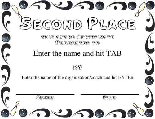 Second place certificate template editable word doc bowling second place certificate template editable word doc yadclub Image collections
