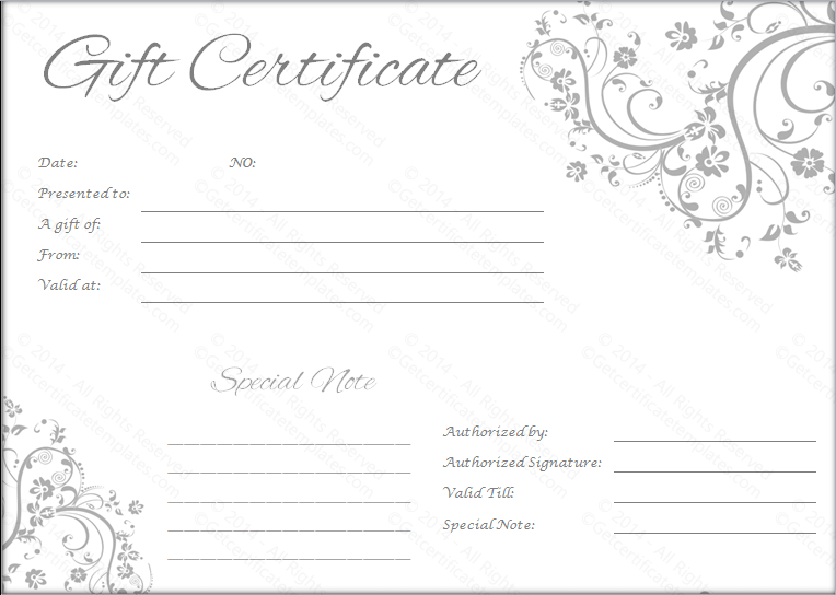 Wedding Gift Certificate Templates Gift Certificate Templates