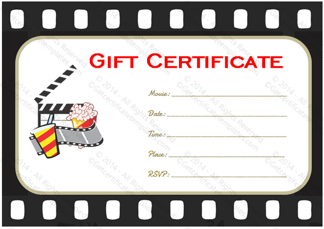 movie ticket printable pdf movie gift certificate templates
