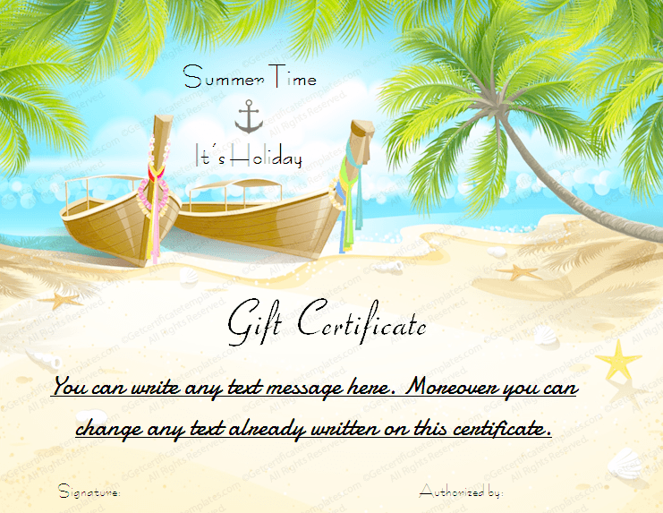 palm card template word - summer gift certificate templates gift certificate templates