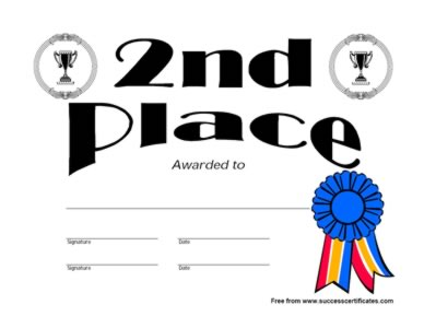 second prize certificates gift certificate templates