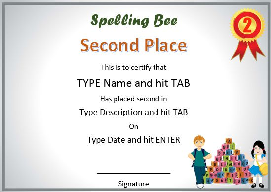 second-place-spelling-bee-certificates