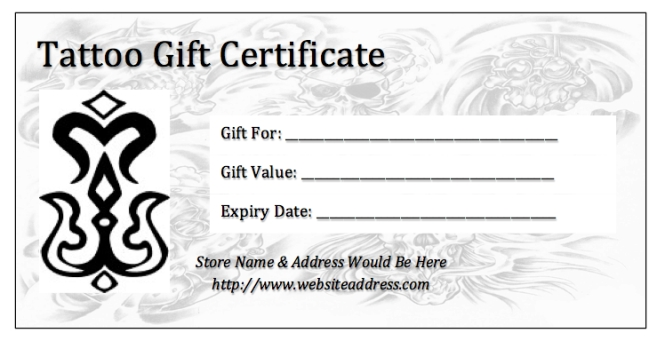Tattoo gift certificate template pdf with regard to tattoo gift tattoo gift certificate template pdf with regard to tattoo gift certificate template yelopaper Gallery