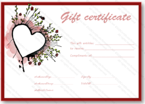 Abstract Heart Gift Certificate Template Valentines Day Printable Doc Editable