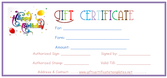 photo about Printable Birthday Certificates known as Birthday Present Certification Templates Reward Certification Templates