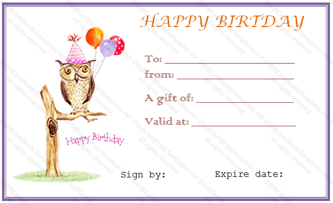 Gift Certificate Template Word | Birthday Certificate Template Word Owl Birthday Gift Certificate