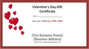 Valentine Certificate Templates Editable Printable Valentines Day