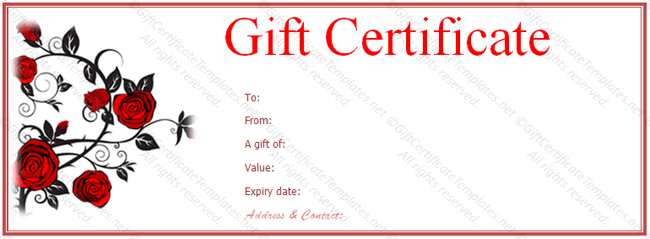 Valentine Gift Certificate Template Free Red Rose Gift Voucher