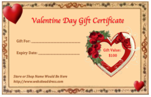 Valentines Day Printable Download Doc Editable Gift Certificate Template