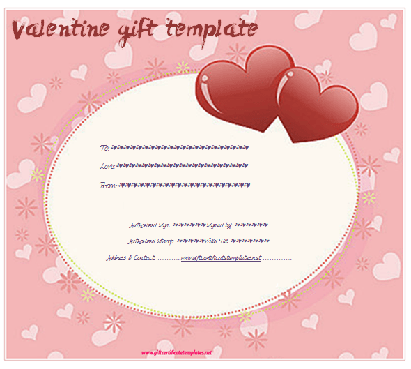 valentines day printable download doc editable pink hearts gift