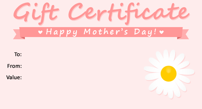Mothers Day Gift Certificate Template Free Templates
