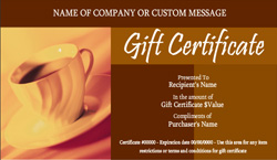 free-editable-sample Coffee Shop and Cafe Gift Certificate template