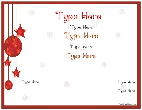 Holiday Gift Certificate Templates